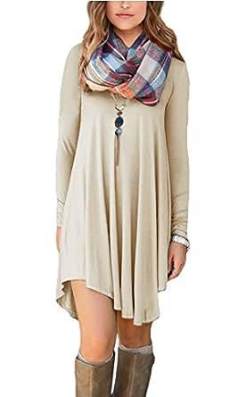 POSESHE Women's Long Sleeve Swing Loose Flowy Casual Tunic Shirt Mini Dress Beige S