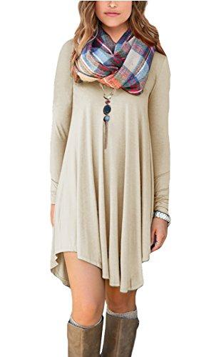 POSESHE Women's Long Sleeve Swing Loose Flowy Casual Tunic Shirt Mini Dress Beige L -