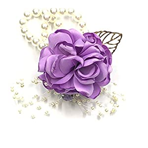 Abbie Home Decent Wrist Corsage for Prom Party Wedding Ball Event Silk Rose Rhinestone Hand Flower Classic Pearl Bracelet (Lavender) 11