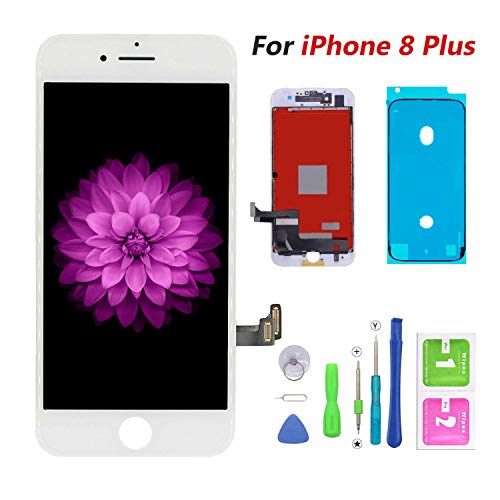 (FFtopu Compatible with iPhone 8 Plus Screen Replacement White-LCD Display & Touch Screen Digitizer Frame Assembly Set with 3D Touch Free Repair Tool(5.5'')