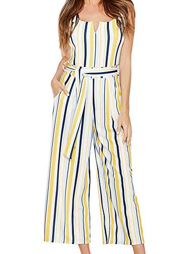 ck Striped Belted Wide Leg Jumpsuits Rompers with Pockets L ()