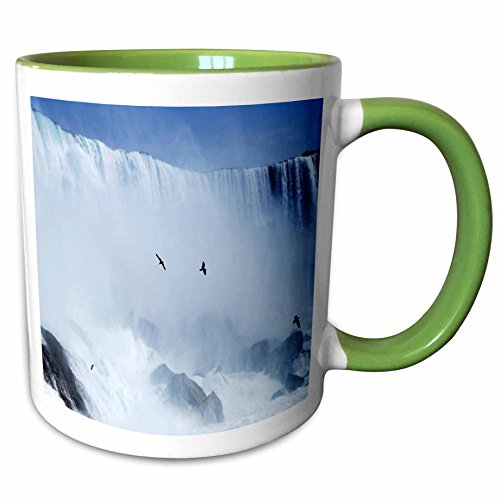 3dRose Florene America The Beautiful - Famous Niagra Falls Straddling NY n Canada - 11oz Two-Tone Green Mug - Outlets Falls Niagra