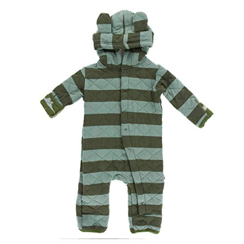 Kickee Pants Little Boys Print Quilted Hoodie Coverall with Sherpa-Lined Hood - Paleontology Fauna Stripe with Moss Sauropods, 0-3 Months