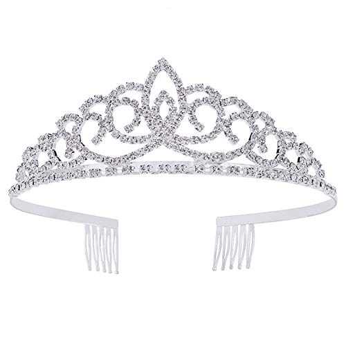 Royal Crystal Tiara Crowns Hair Jewelry Wedding Pageant Bridal Princess Headband (Diameter: 5.5'') (Silver)