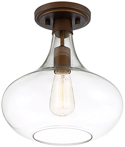Possini Euro Cecil 11'' Wide Bronze Glass Ceiling Light by Possini Euro Design