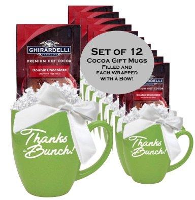 Set 12 Cocoa Gift Mugs/Holiday Thank you Mugs/Ghirardelli Cocoa Mugs/ Thanks/Corporate Thank You Gifts/Business Mugs/Employee Appreciation Gift Mugs