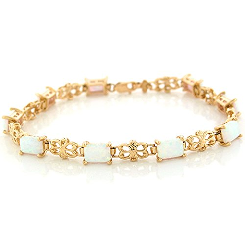 14k Yellow Gold Simulated Speckled White Opal Vintage Design Bracelet 14k Yellow Gold Opal Bracelets