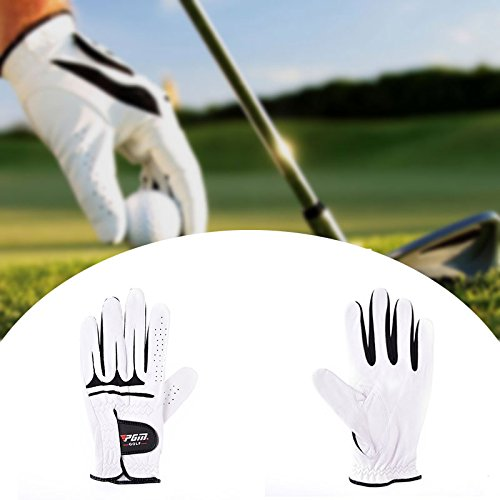 Definito-日本 Men's PGM Authentic Golf Gloves Breathable Leather Sheepskin Left Right Hand Anti-skid Beginner Practice  red B07RL1Y543