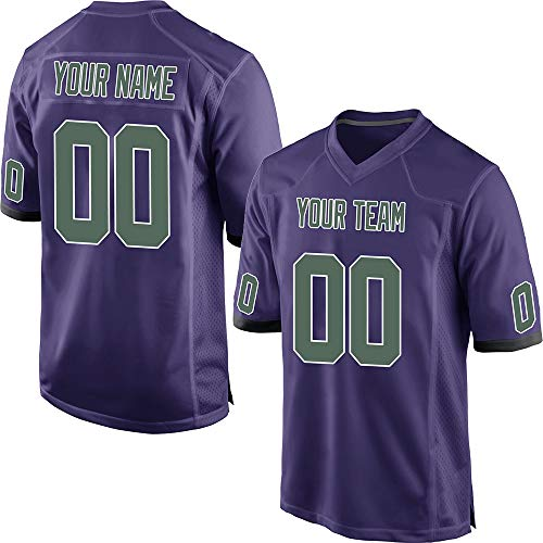 Custom Men's Purple Mesh Personalized Football Jerseys Stitched Team Name and Your Numbers,Green-White Size 2XL