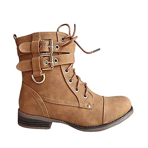 Womens Work Military Combat Martin Boots Lace up Buckle Strap Ankle -