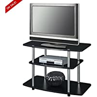 Black TV Stand With Storage Small Size TV Stand For Flat Screen With 2 Shelves Assembly Required For Home / Office Use And E- book By TSR