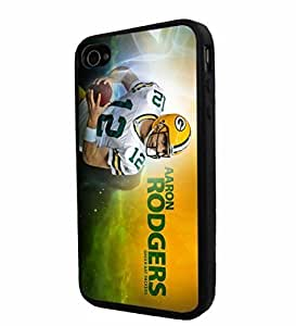 New Fashion Case NFL Green Bay Packers Aaron Rodgers, Cool iPhone 4 / 4s Smartphone case cover k8kRBO1nQza Cover Collector iphone TPU Rubber case cover Black