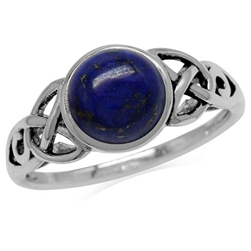 8MM Genuine Round Shape Blue Lapis 925 Sterling Silver Triquetra Celtic Knot Solitaire Ring Size 6.5