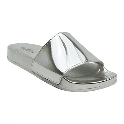 Slip on Sandals Slide silver POP Summer Gigi Slipper Blue Women's Gigi Strap Glitter metal Rhinestone 4A00w8q