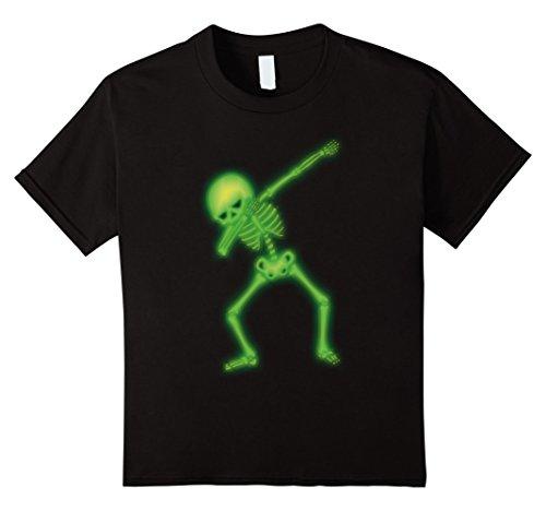 Dance Costumes Ideas For Hip Hop (Kids Dabbing Skeleton Faux Green Glow Halloween Costume Shirt 8 Black)