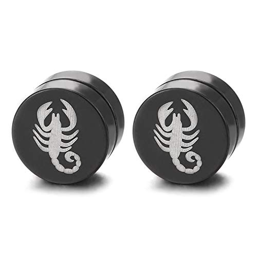 (Mens Silver Black Magnetic Circle Stud Earring with Scorpion King Non-Piercing Clip On Fake Ear Plug)