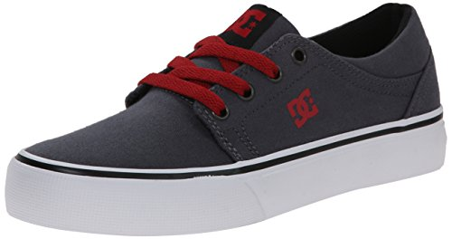 DC Trase TX Skate Shoe,Grey/Black/Red,4 M US Big Kid