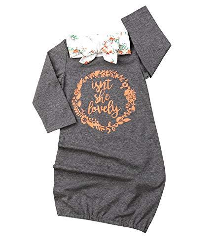 Newborn Baby Girl Isn't She Lovely Floral Nightgowns Headband Sleepwear Sleeping Bag (0-3 Months, Gray)