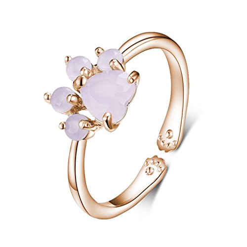 Viola Tricolor Cute Cat Paw Rose Gold Ring Pink Cubic Zirconia Crystal Ring Open Adjustable Sparkling Jewelry Best Friendship Gifts for Women Teen Girls