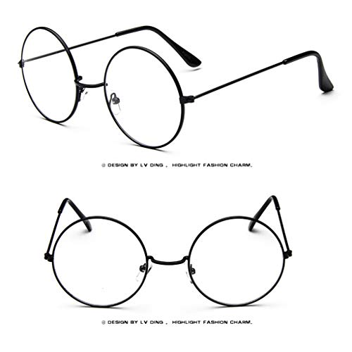 (Unisex Glasses , LtrottedJ Fashion Oval Round Clear Lens Glasses Vintage Geek Nerd Retro Style Metal (Black))