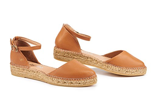 Closed In Leather Ankle Toe Tan Made Flats VISCATA Conca Spain Espadrilles Strap Sandal 61xXUw