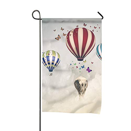 Elephant Flying in Sky Garden Flag 27x39 Seasonal Holidays Celebrating Flags for Home Outdoor Decoration