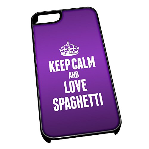 Nero cover per iPhone 5/5S 1542viola Keep Calm and Love spaghetti