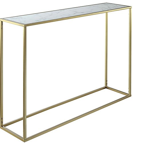 Marble Topped Table Sofa Table White Faux Marble Top Console Table Gold Metallic Base Metal Frame Sturdy Tabletop Minimal Unique Modern Contemporary Hallway Living Room Entryway & eBook by NAKSHOP