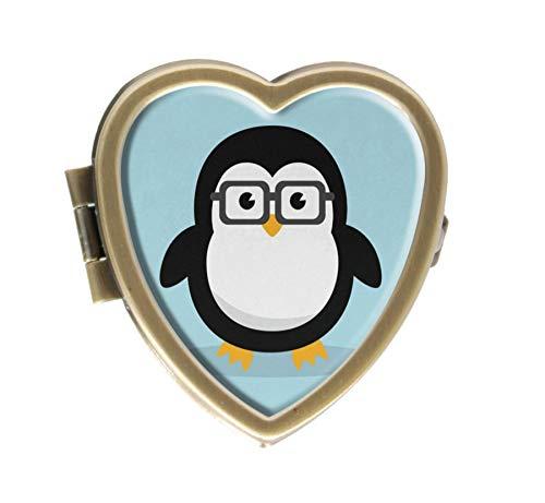 Cute Geek Penguin Design Bronze Pill Case Box Western Medicine Tablet Holder Decorative Bronze Pill Box for Pocket or Purse