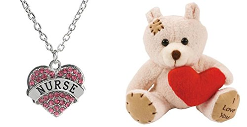 "Nurse Pink Crystals 18"" Chain Necklace With Plush 5"" I Love You Bear / Made in the USA Hypo-Allergenic. Lead Compliant"