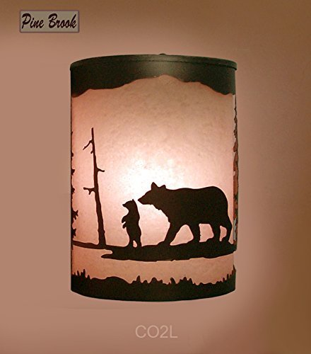 Rustic Light Bear Wall Sconce Lamp Cabin Decor Pine Lighting Left Facing
