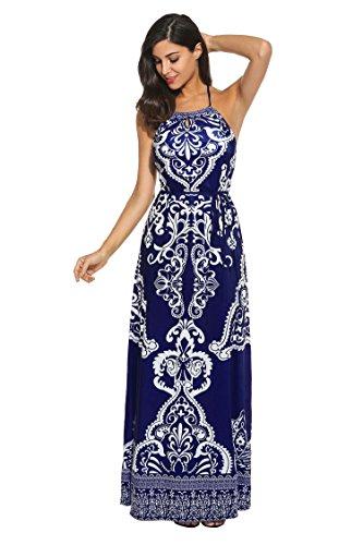 Meaneor Women Casual Halter Neck Sleeveless Print Maxi Dress