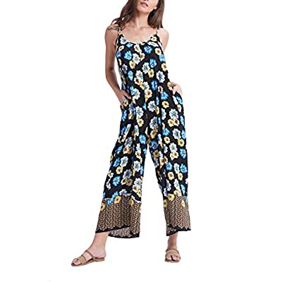Wexcen Womens Floral Printed Jumpsuits Casual Sleeveless Spaghetti Strap Rompers Wide Leg Pants with Two Pockets: Clothing