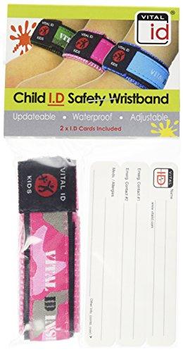 Vital ID Child Safety Wrist Band - Child (Camo Pink)