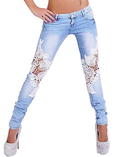 Mujeres De Encaje Cosido Pantalones Mezclilla Denim Jeans Vaqueros Skinny Lápiz Pantalones Zarco