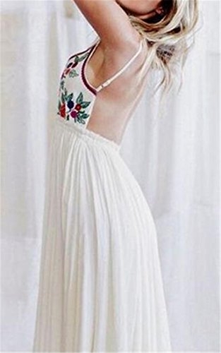 V Backless Cromoncent Deep Swing Waist Neck White Pleated High Womens Dress Strap Long rIWgfTI