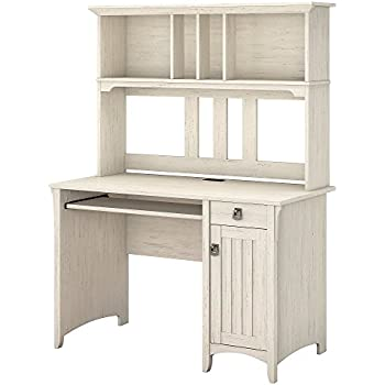 salinas computer desk with hutch in antique white