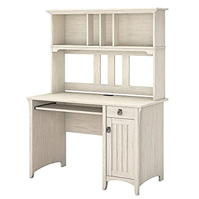 Bush Furniture Salinas Computer Desk with Hutch in Antique White - Computer Desk features a pullout shelf for your keyboard or laptop Closed storage cabinet with attractive detailing and hardware accommodates a CPU Open storage on Hutch provides space to display books, photos, trophies or knickknacks - writing-desks, living-room-furniture, living-room - 41QXBEoUEJL. SS400  -