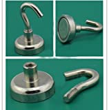 10LBS Magnets Super Heavy Magnetic Hooks Neodymium Rare Earth N52 NdFeB 25mm 2pc