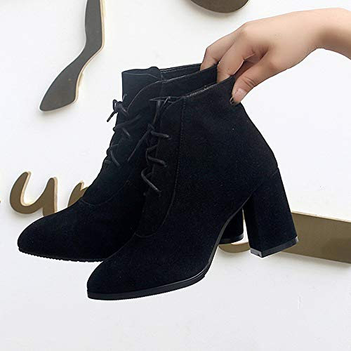 Boots Khaki Heel Suede Pointed High Black Color Boot 35 Women Martin Shoes Black Toe Shoes Solid 43 wx11tS