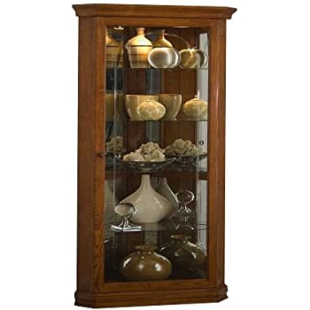 Pulaski Corner Curio, 28 By 16 By 72 Inch, Medium Brown