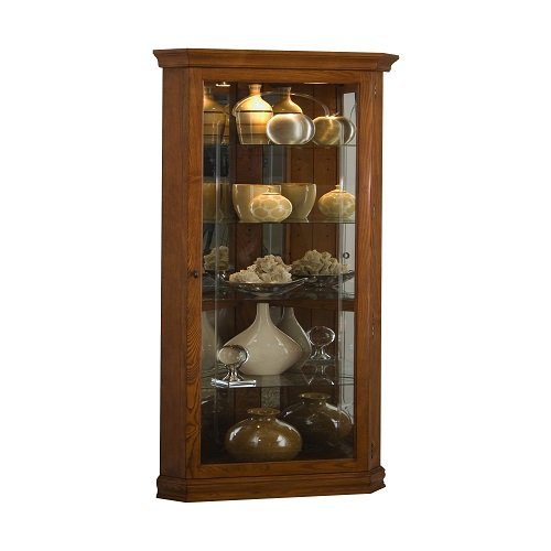Pulaski Corner Curio, 28 by 16 by 72-Inch, Medium Brown