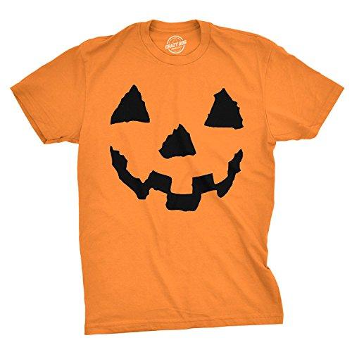Pumpkin Face T-Shirt Funny Halloween Jack O Lantern Shirt (Orange) - L]()