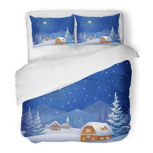 (Emvency Bedding Duvet Cover Set Twin (1 Duvet Cover + 1 Pillowcase) Blue Scene of Winter Night Village at The Mountains Snow Christmas Tree Clipart Hotel Quality Wrinkle and Stain Resistant )