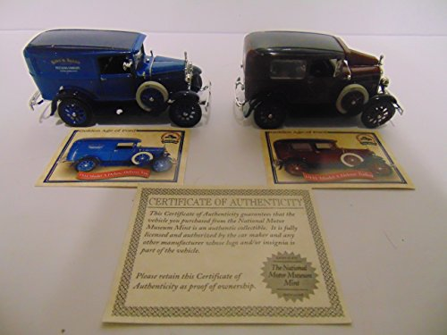 National Motor Museum Mint 1931 Model A Ford Deluxe Delivery Van & 1931 Model A Ford Deluxe Tudor, 1/32 Scale Die Cast Cars, Set of - Museum Mint