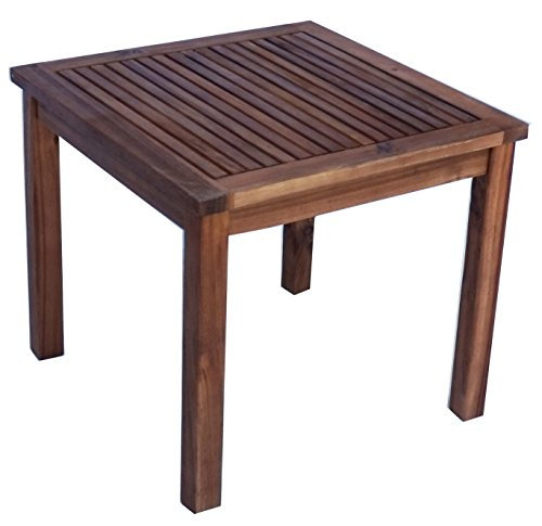 "Zen Garden Eucalyptus Square Side Table, 19"" x 19"" x 17.5"", Natual Wood Finish, Natural Wood - Table measurements are 19"" (length) x 19"" (breadth) x 17.5"" (height) Light assembly required Strong and durable. Max weight limit 100 pounds - patio-tables, patio-furniture, patio - 41QXBpb4xiL -"