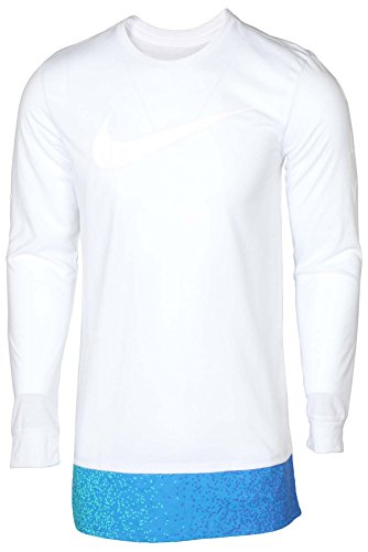 NIKE Men's Dri-Fit Swoosh Long Sleeve T-Shirt-White-Medium