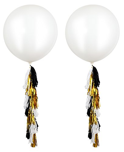 Fonder Mols 18 pcs 36'' Giant White Round Latex Balloons with Confetti and Metallic Gold Black White Paper Tassels for Graduation Party Decorations by Fonder Mols