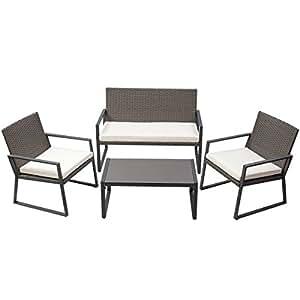 Patio Furniture Set with Cushioned Seat Sofa Garden Lawn Sofa Rattan Wicker