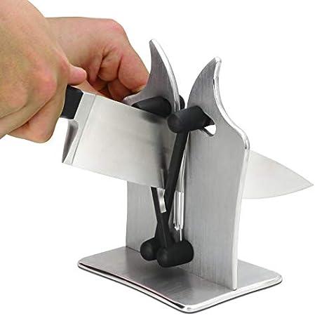 KULTIVERI Afilador de Cuchillos de Cocina Multicuchilla Profesional; Afila y Pule. para Todo Tipo de Cuchillos: Serrado, Biselado y Cuchillas Estándar